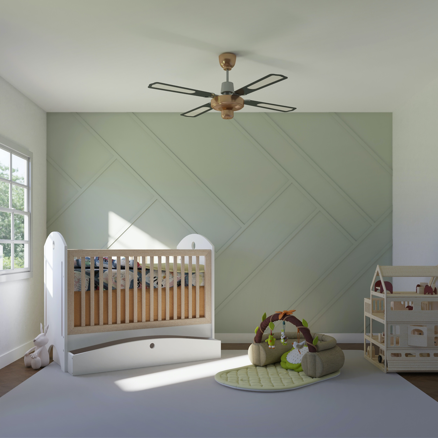 Outfit's accent wall in Zig Zag, Olive, Small