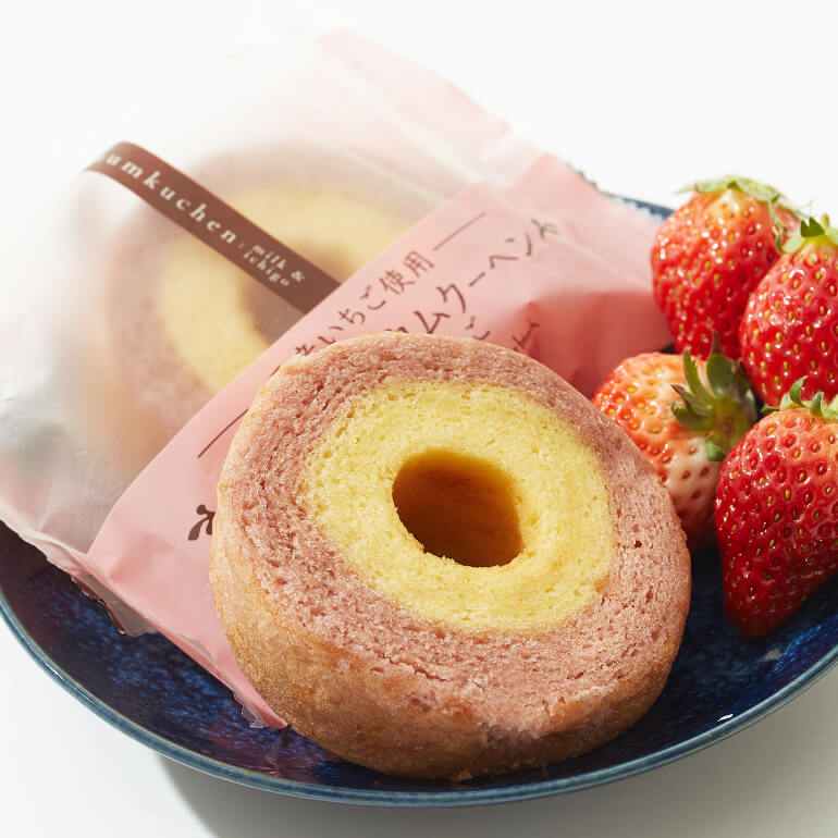 Soft Milk & Strawberry Baumkuchen x2