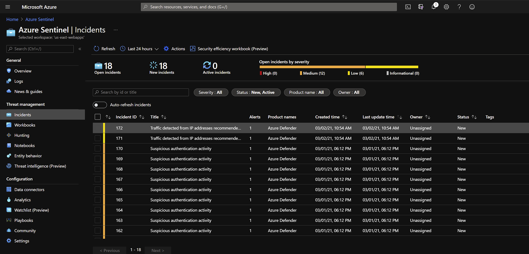 Azure Incidents interface