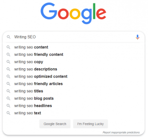example writing for seo