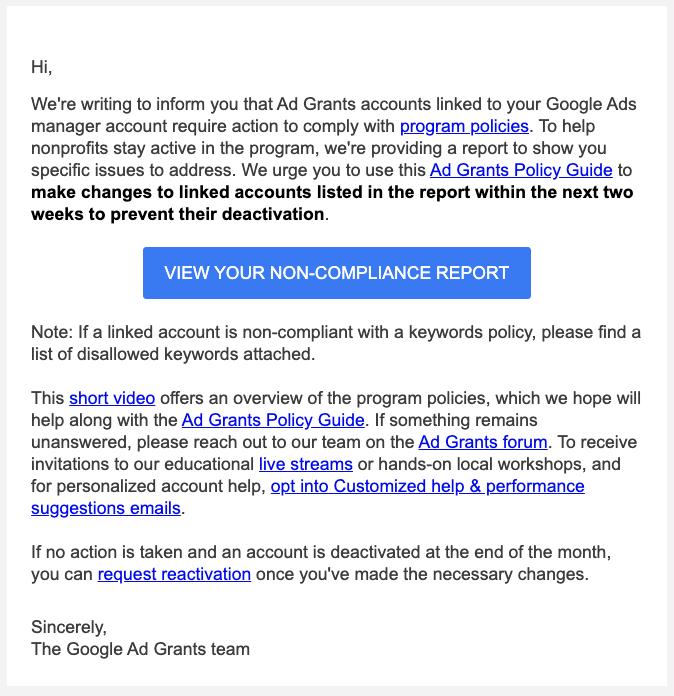 google grants non compliance report