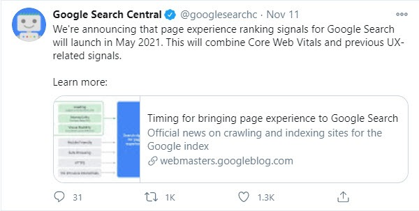 google-core-web-vitals-announcement-may-2021