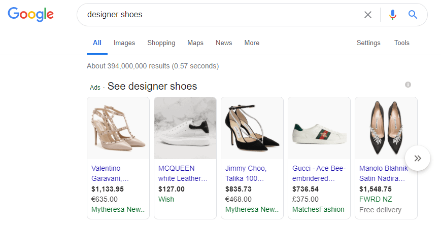 google shoping ads shoes