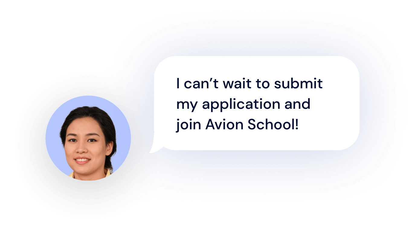 """A woman saying """"I can't wait to submit my application and join Avion School!"""""""