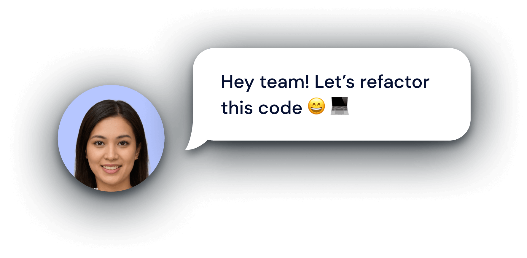 A woman asking her team to refactor the code
