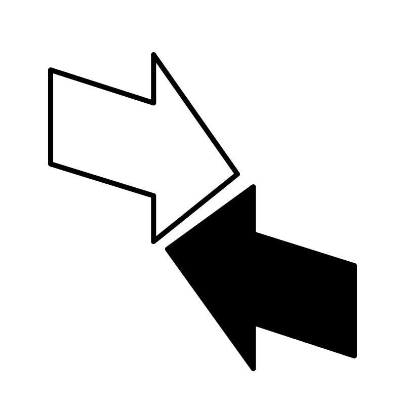 two arrows representing currency exchange - rebank intercompany