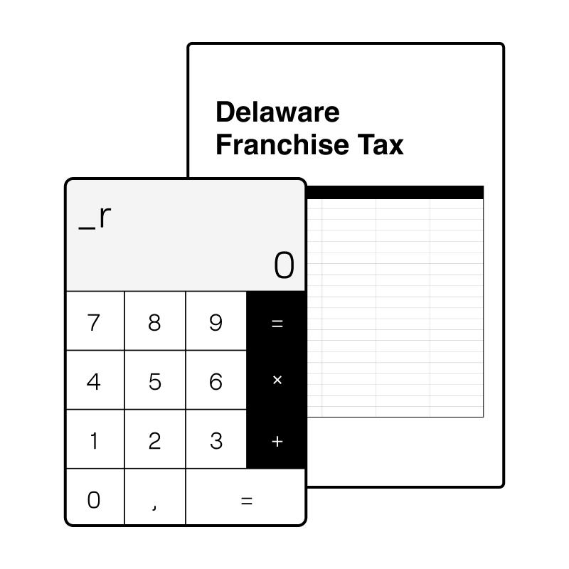 A calculator and a delaware franchise tax sheet - rebank intercompany