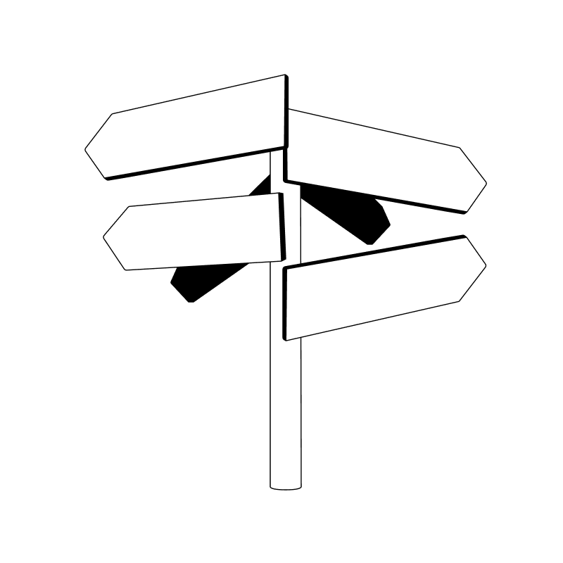 A sign pointing in all sorts of directions - rebank intercompany