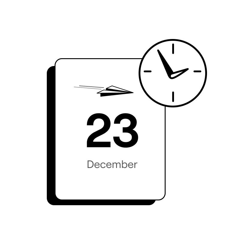 a calendar showing december 23 and a clock - rebank intercompany