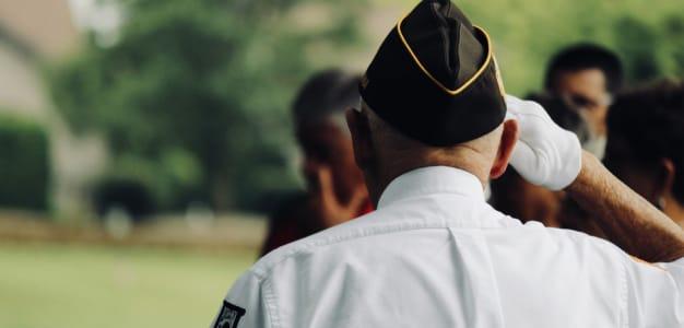 A serviceman saluting