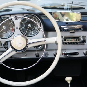 A classic car's steering wheel