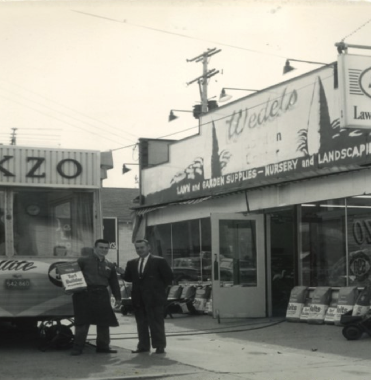 This picture was taken of an interview with George Wedel in March 1963. The occasion was the Grand Re-opening for Wedel's  after a fire at 1832 S. Westnedge