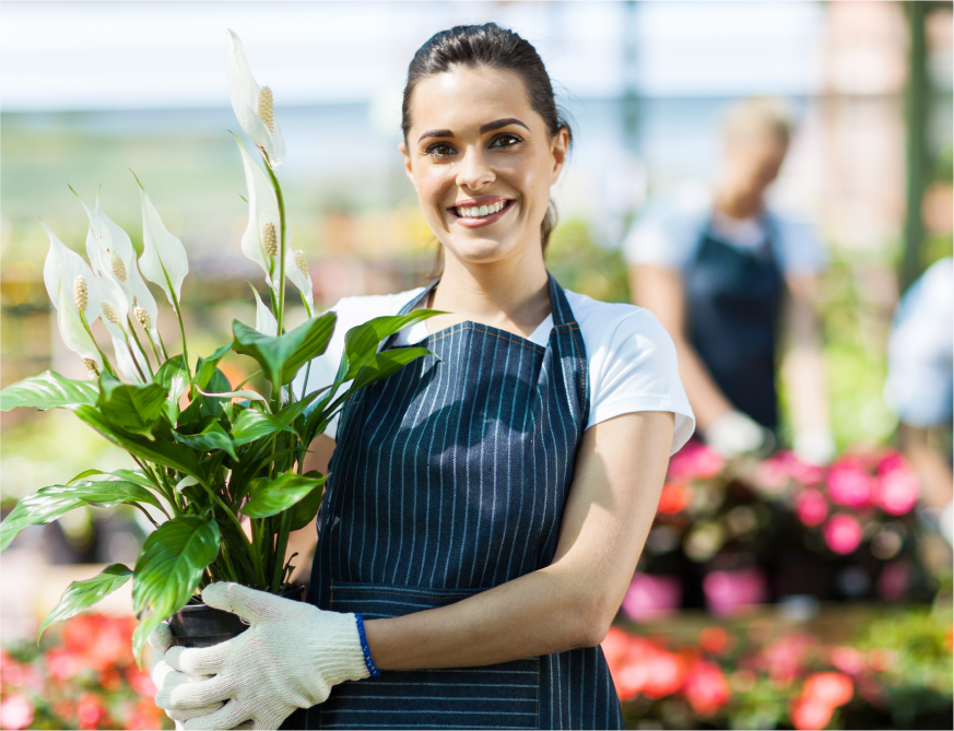 Friendly Wedel's employee holding a white lily looking forward