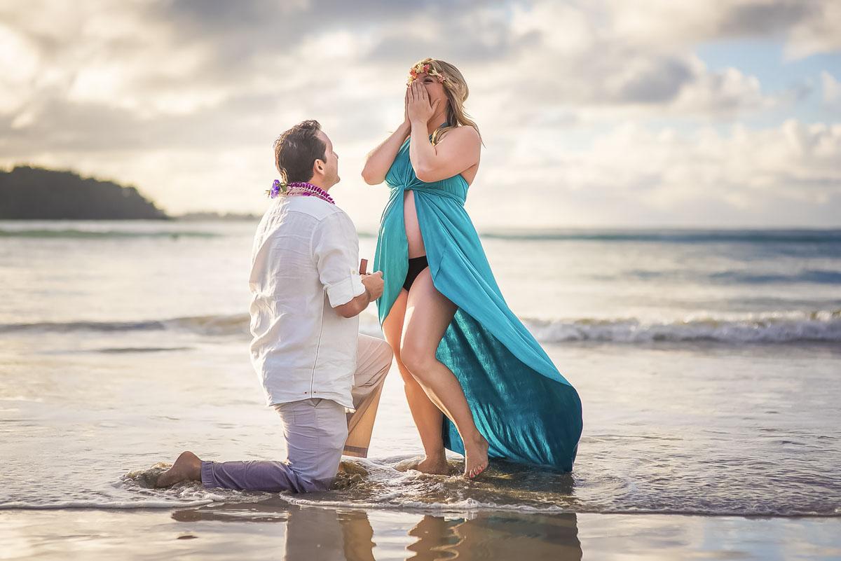 Fun Engagement Photos at Hanalei Bay Kauai