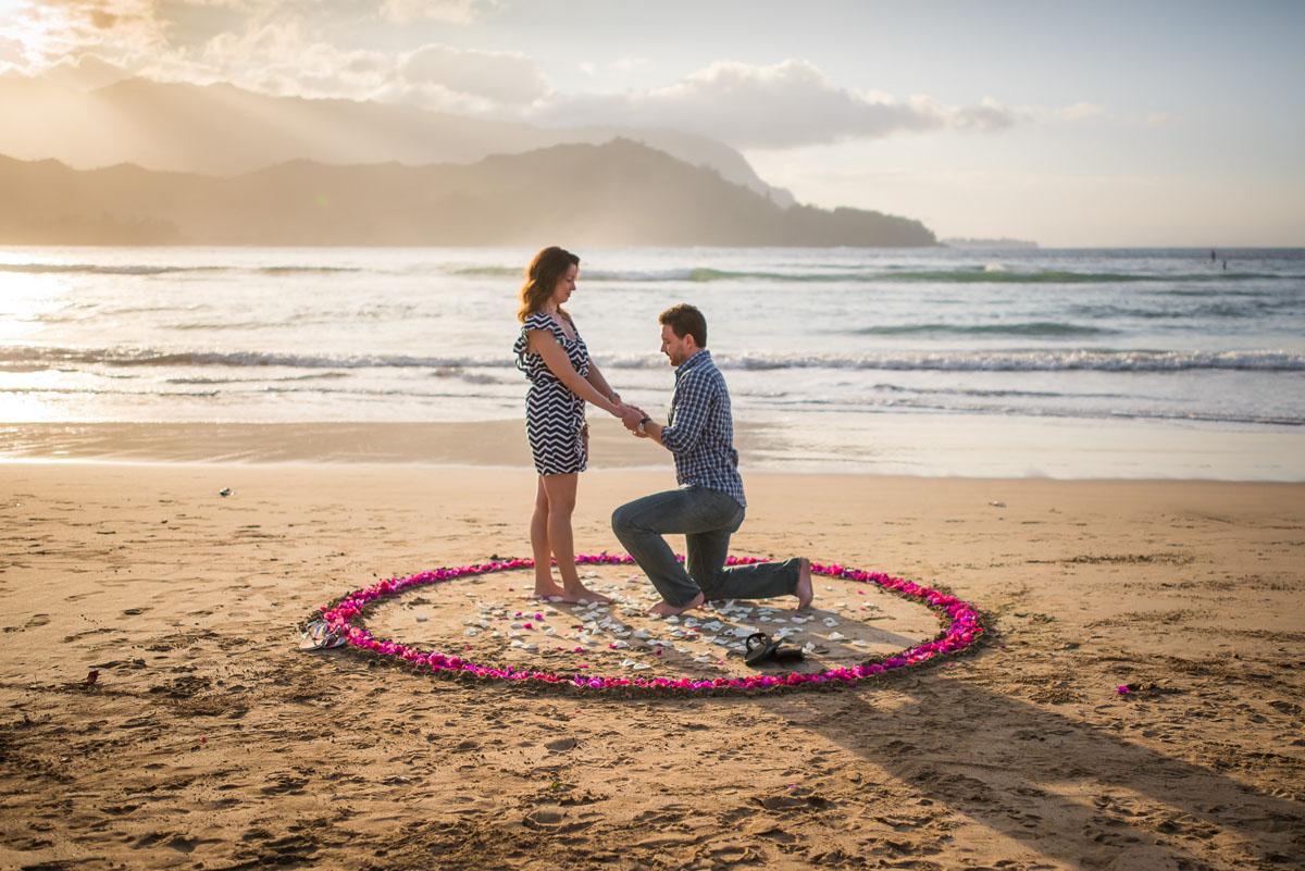 Hanalei Bay Kauai surprise proposal
