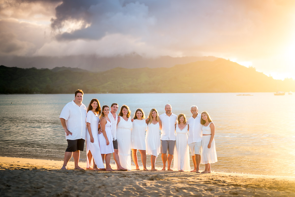 A family portrait from a beach sunset session.