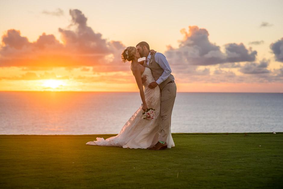 Sunset wedding photo in Kauai.