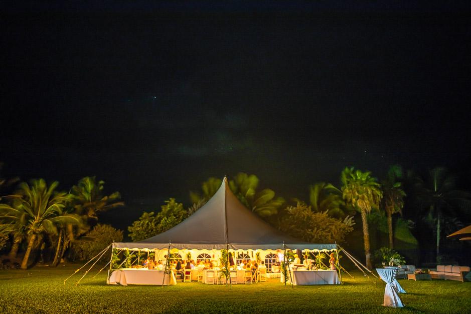 Wedding reception photo at night.