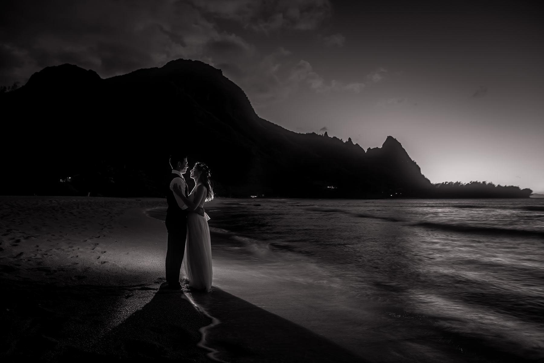 Black and white wedding photograph on the island of Kauai, Hawaii.