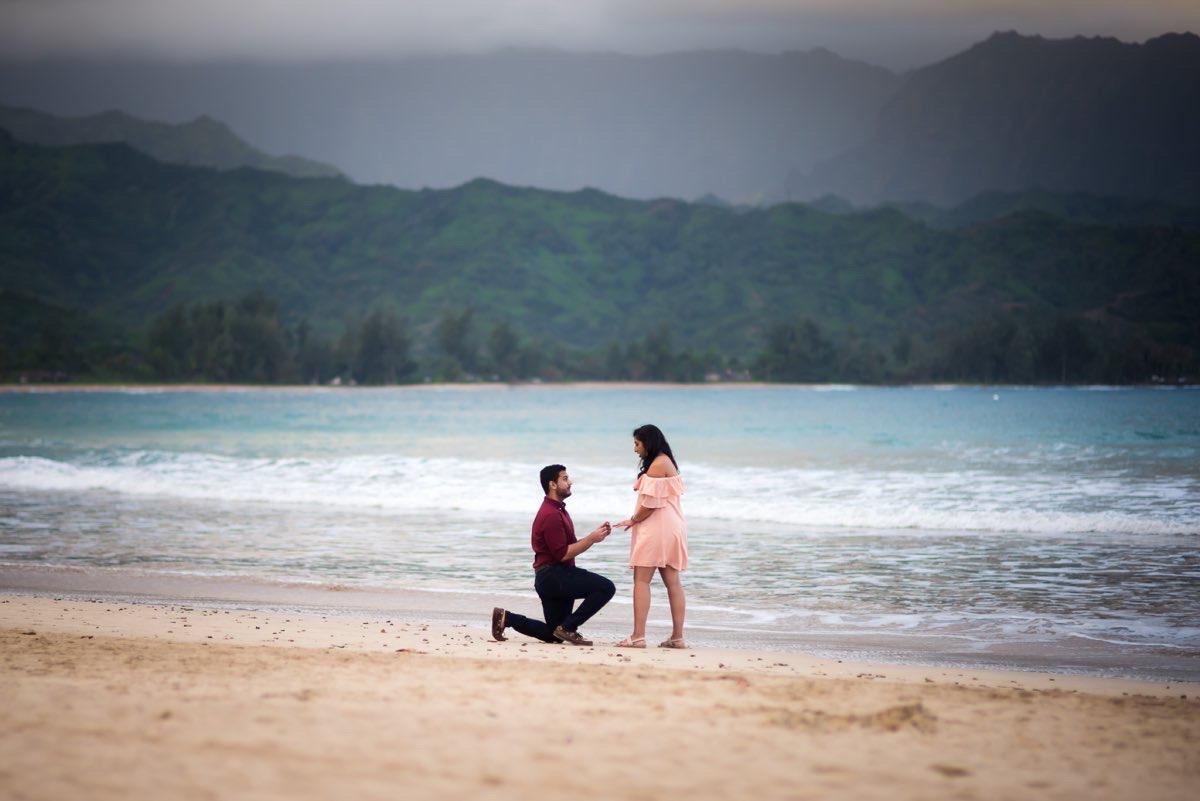 Proposal photography on Kauai beach