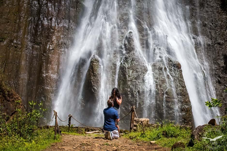 Proposal photography at a Kauai Waterfall.