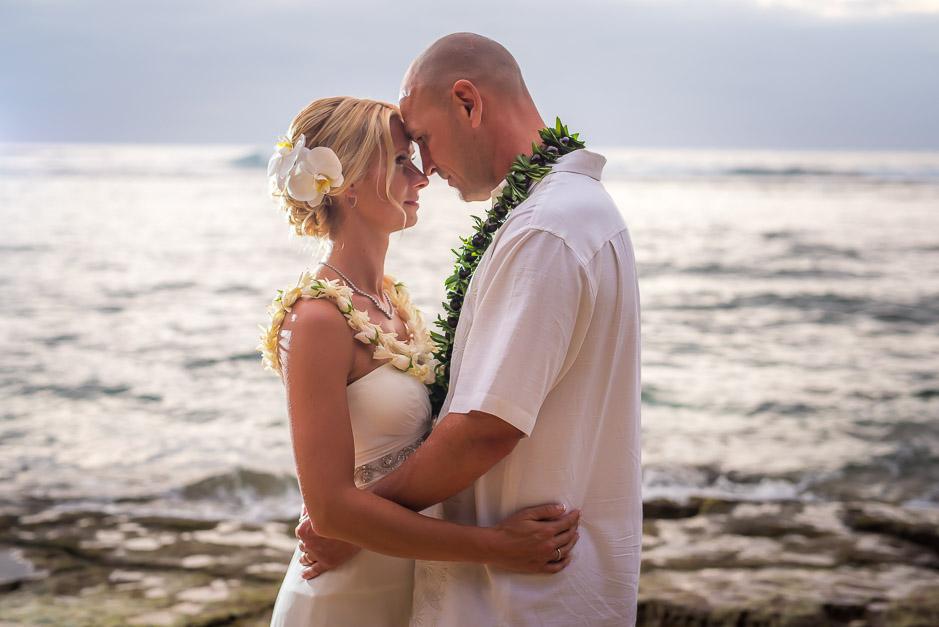 Intimate wedding photo in Kauai.
