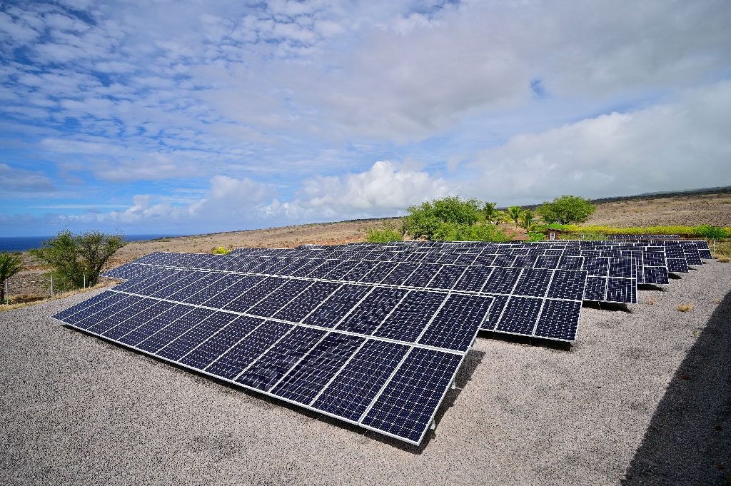This newly installed solar array is the largest one of its kind in the world. It provides enough power to desalinate all of the water necessary for this large reforestation effort and more. The facility is the first one created by Terraformation at the Pacific Flight reforestation project in Hawaii.
