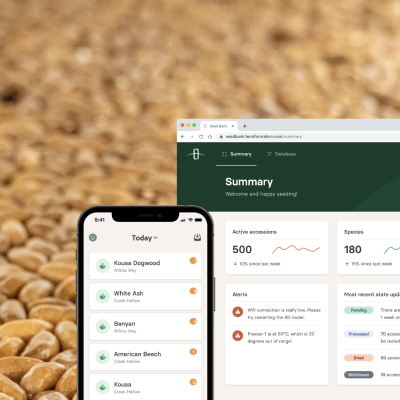 Software produced by Terraformation can be used on mobile devices, tablets, and desktop computers. The applications are designed specifically for seed collecting, seed banking, tree planting, and managing all of those flows in an easy-to-use fashion adapted to working reliably in the field.