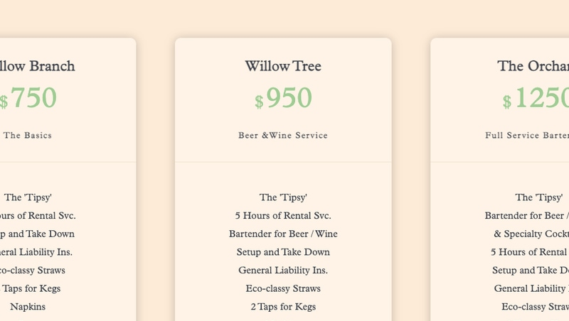 The Tipsy Willow Pricing Section
