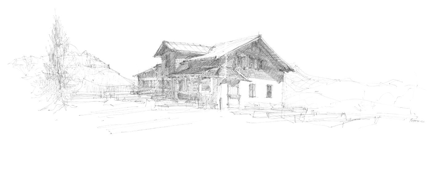 Skizze des Schutzhaus Tschafon