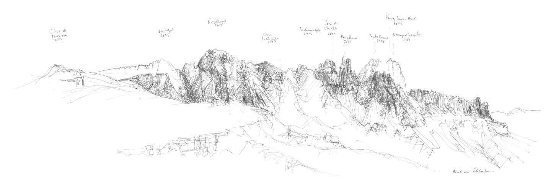 Skizze der Panoramaaussicht Schutzhaus Tschafon