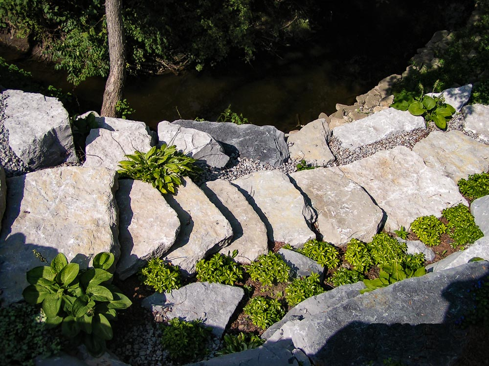 overhead view of stone stairs