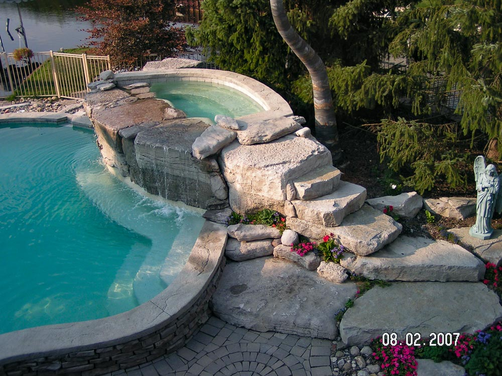 stone stairs to hot tub