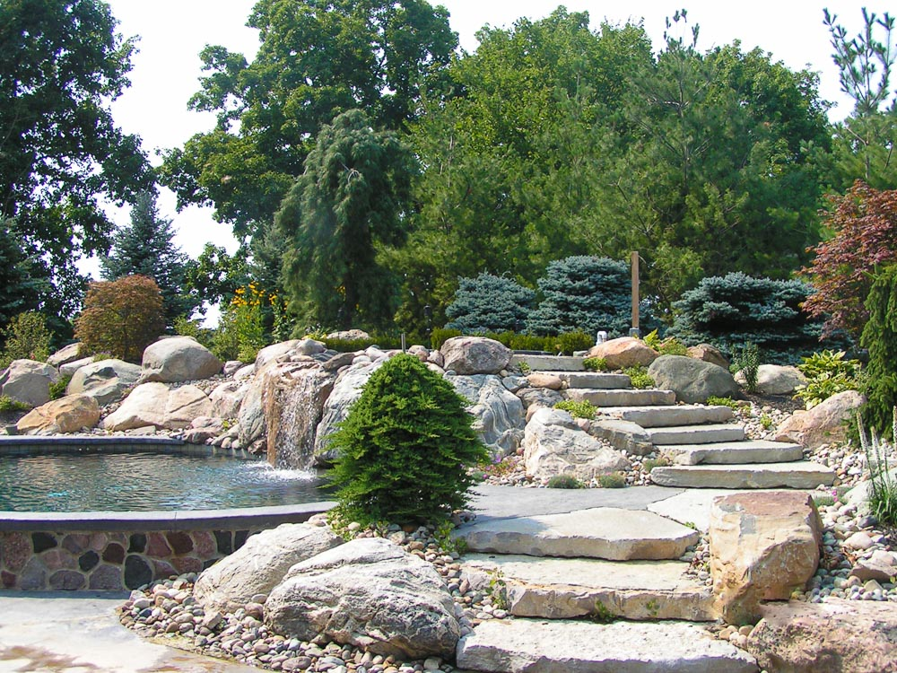 poolside stone stairs