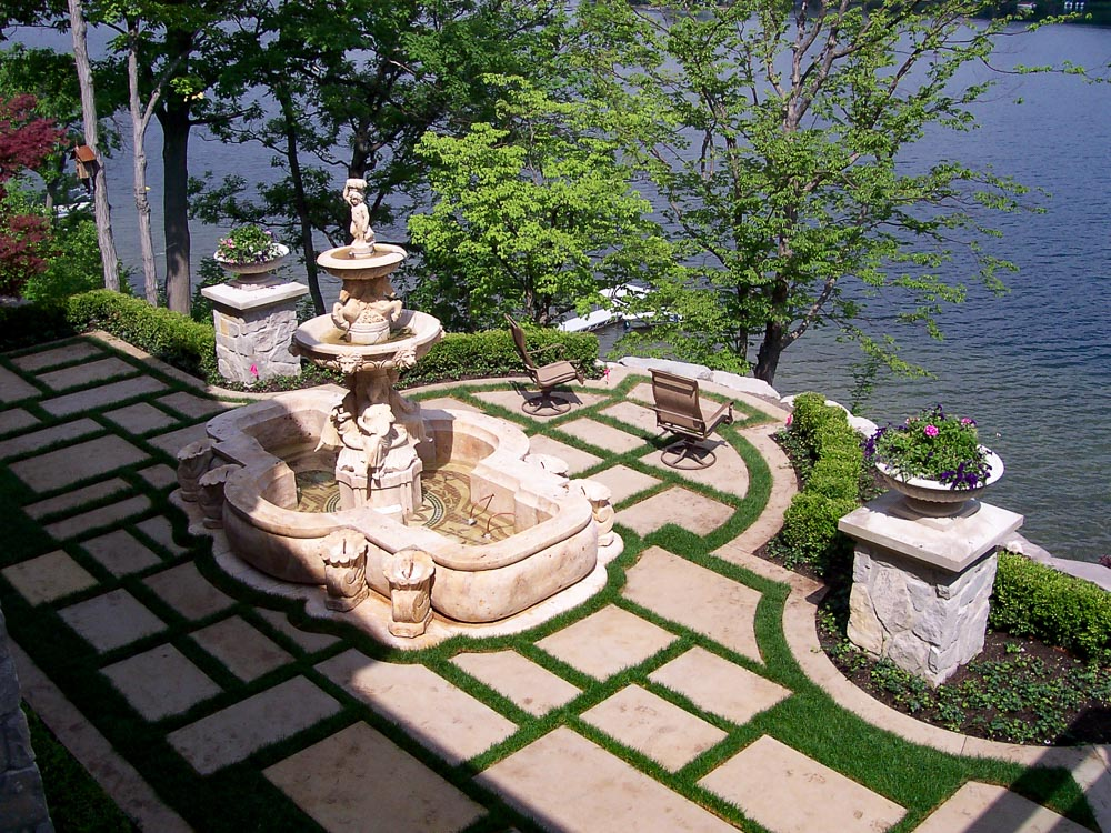 stone pavers with grass