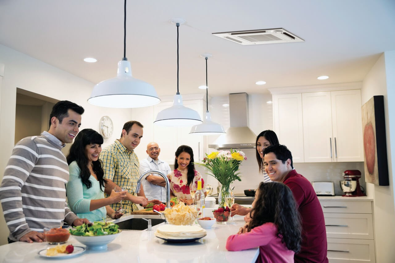 family celebration kitchen counter happy air conditioner ceiling