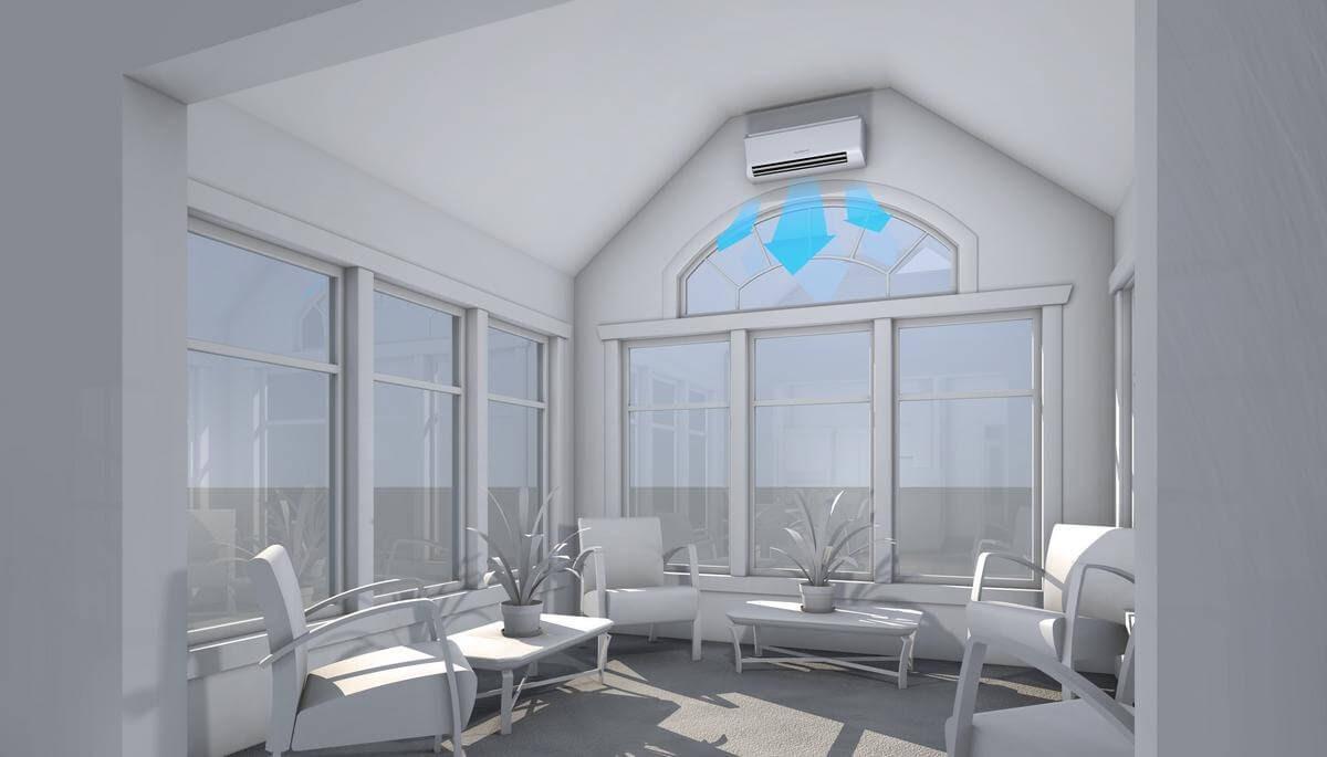 animation sun room ductless installation mitsubishi plants chairs windows gray
