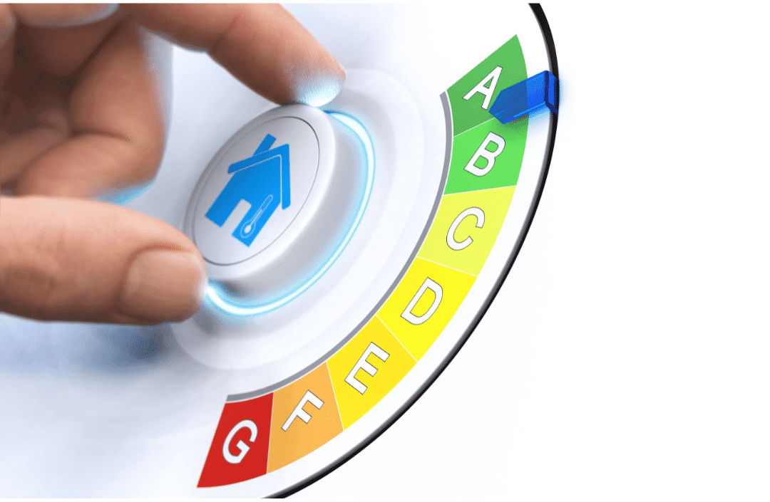 dial with hand turning to energy efficiency home logo improvement visual representation