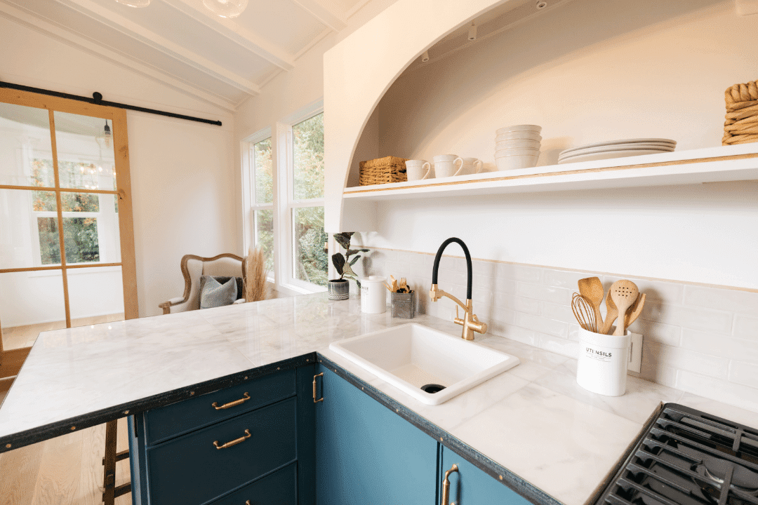 tiny house kitchen open concept living room modern