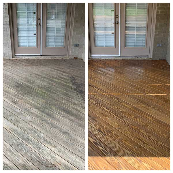 Wood cleaning before and after in Desoto County