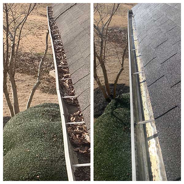 Gutter cleaning before and after in Desoto County