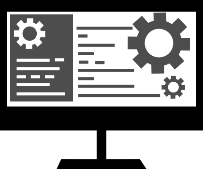 Custom icon of a computer screen with lines and gears mimicking what it would look like to develop code. This icon is to demonstrate that The Marketing Guru builds custom websites, not from templates.
