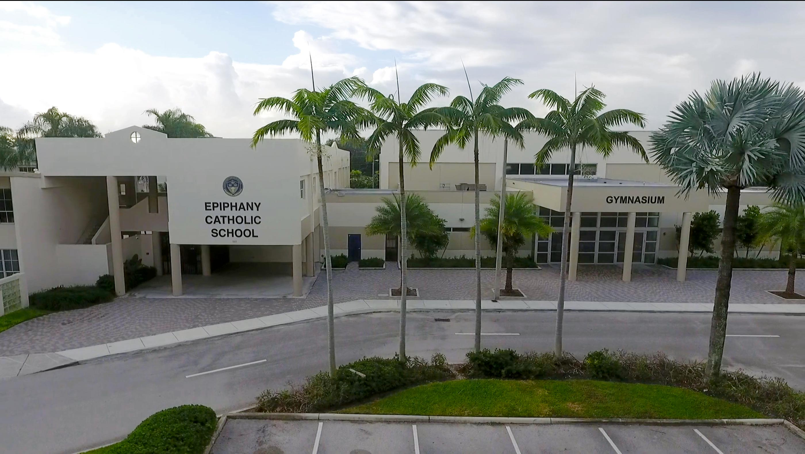Elevated shot of the front of our main building
