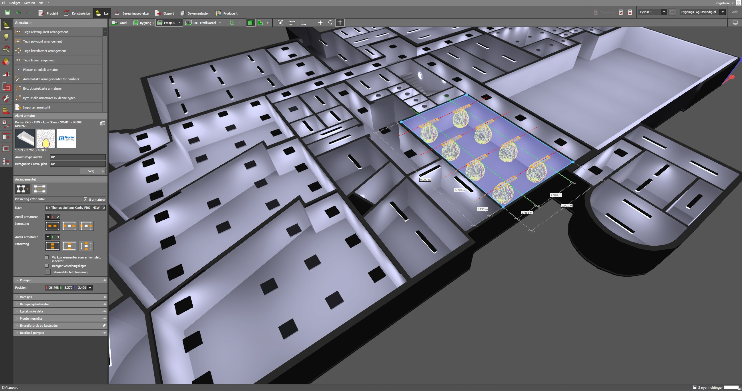 Screenshot av software for lysanlegg