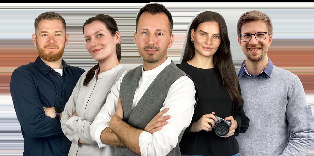 Das Team von Novus Marketing mit Nick Änne Stefko Henriette und Patrick