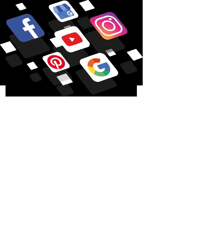 Social Media Logos wie Facebook, Instagram, Google