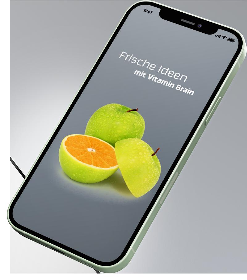 schwebendes iPhone mit einem kreativen Layout.