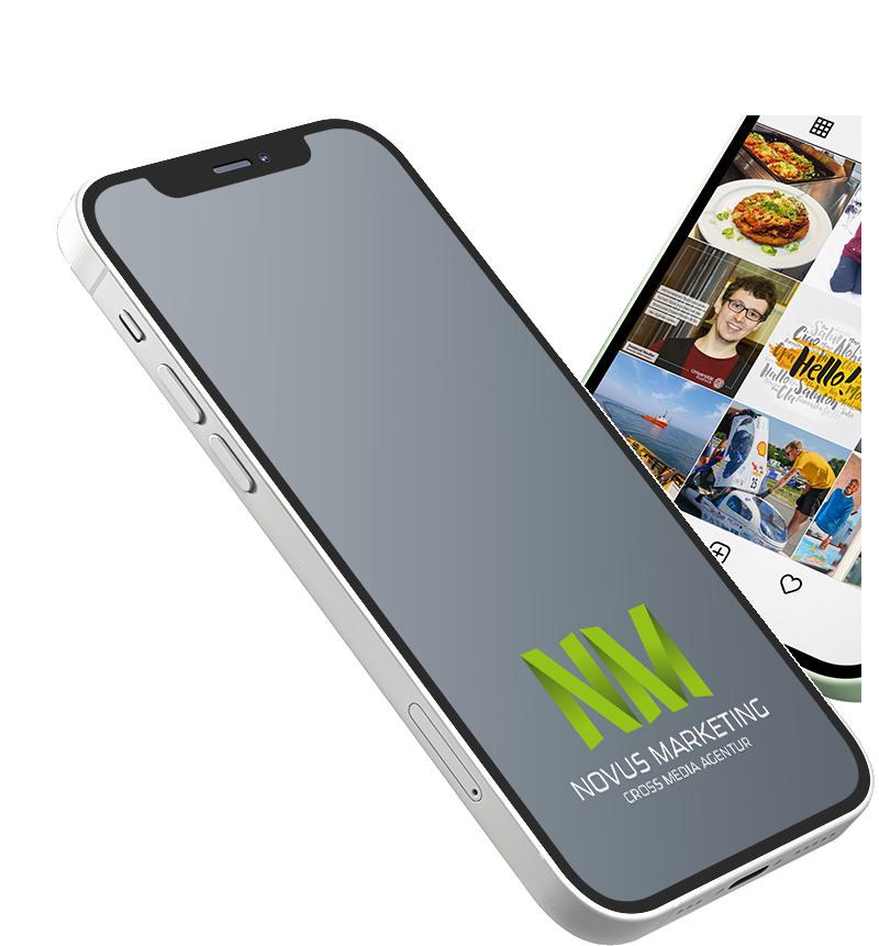 schwebendes iPhone mit Novus Marketing Logo