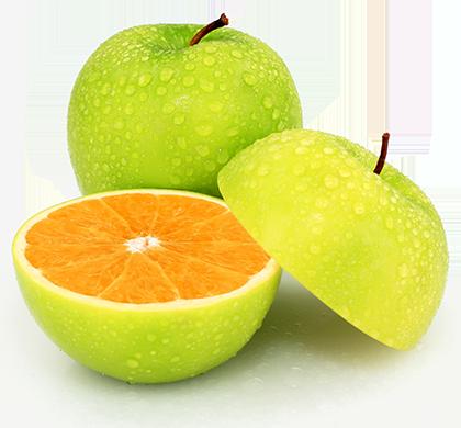 Eine Grafik eines aufgeschnittenen Apfels und das Fruchtfleisch ist allerdings das einer Orange
