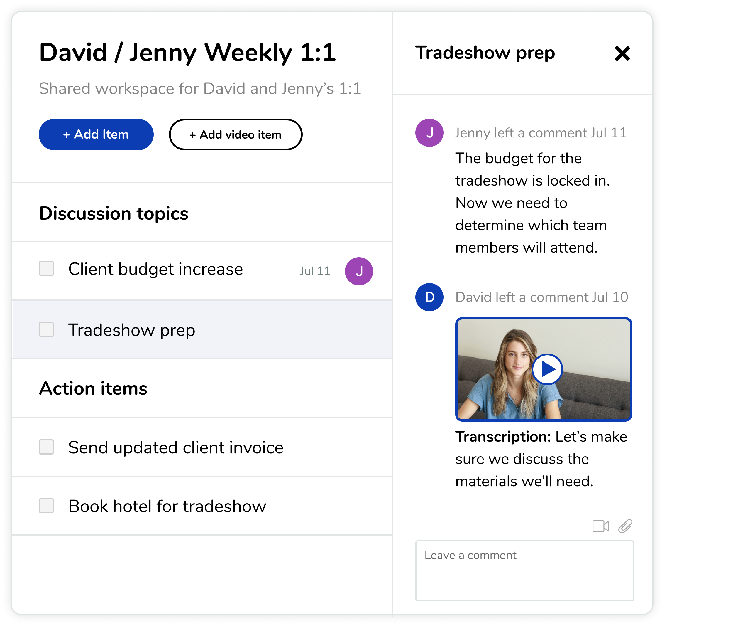 Example of a workspace with collaboration features for distributed teams with asynchronous workpatterns